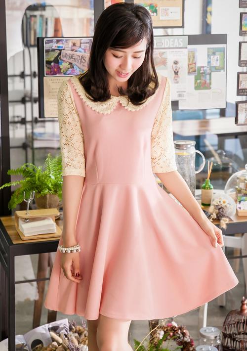 甜美清秀蕾絲領小洋裝M~L