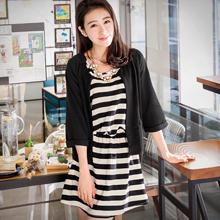 優雅條紋洋裝+氣質外套