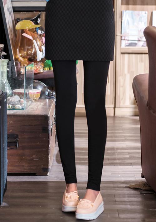 假兩件方格窄裙超彈內搭褲