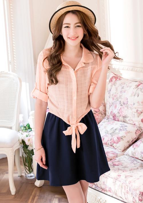 兩件式日系柔美洋裝-附綁帶襯衫