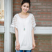 輕熟條紋網紗袖造型上衣