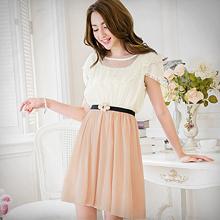 日系氛圍圓領網紗配色洋裝