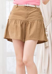 休閒下擺抓皺造型短褲-附皮帶M~L