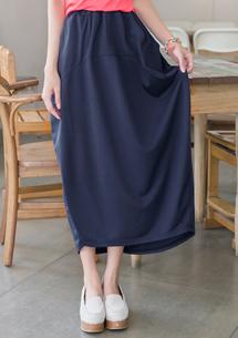 純色好感雙口袋長裙