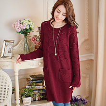素色鏤空雙口袋長版針織毛衣