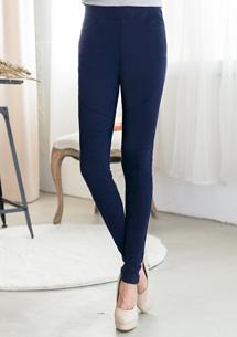 視覺設計膝平車線造型窄管褲M~XL