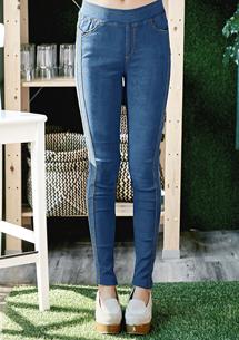 復古刷色彈力顯瘦窄管褲M~XL
