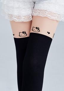 Hello Kitty顯瘦透膚假膝上襪