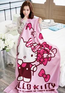 Hello Kitty飄飄蝴蝶結刷毛保暖毯