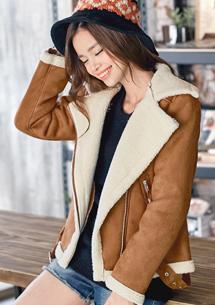 率性翻領拉鍊厚麂皮短外套