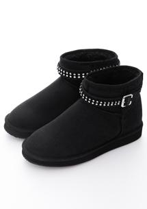 水鑽環釦帶內增高短筒雪靴