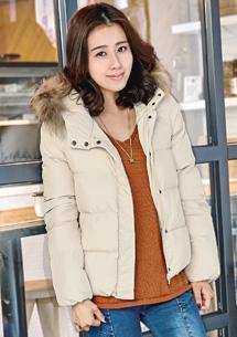 時尚韓風連帽短版羽絨棉外套