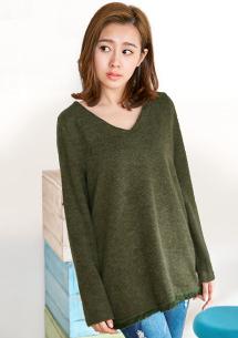 魅力風采V領針織毛衣