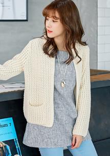 甜美律動開襟針織毛衣外套