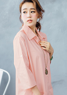 韓風簡約立領長版襯衫