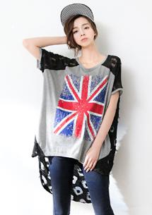 英式網紗長版上衣