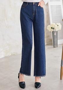 湛藍經典抽鬚牛仔寬褲M-XL