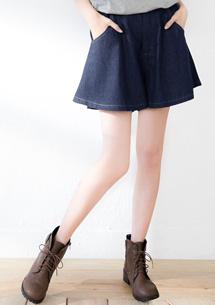 原色俏麗修飾牛仔褲裙