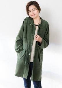 柔美蜜桃絨排釦襯衫外套