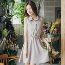 清新簡約襯衫領格紋洋裝