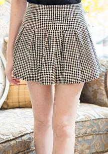 輕熟知性千鳥格百褶褲裙