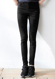 刷破顯瘦彈性窄管褲