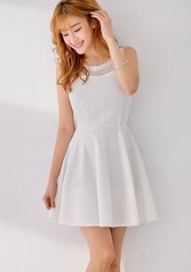 高貴氣質絲滑蕾絲壓紋洋裝