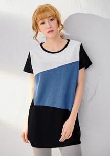 時尚憧憬細纖織紋配色上衣