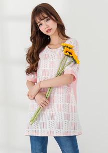 粉嫩春色質感蕾絲上衣