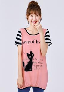 貓咪接條紋袖上衣