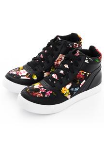 花布內增高休閒鞋