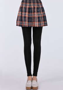 假兩件格紋短裙內搭褲