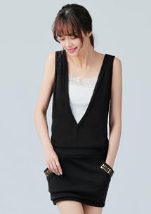 韓式造型口袋洋裝