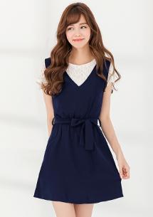 兩件式V領洋裝-附蕾絲上衣