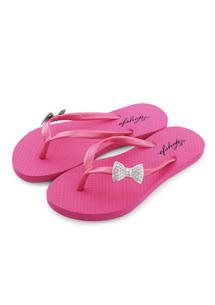 鑲鑽蝴蝶結夾腳拖鞋