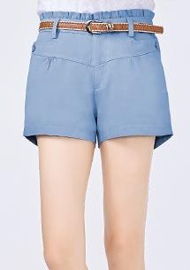 荷葉腰頭短褲-附腰帶