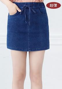 俏麗高彈針織牛仔褲裙