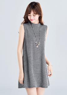 柔雅千鳥格紋洋裝