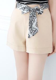 韓品花紋綁帶短褲