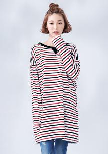 韓版舒適條紋長版上衣
