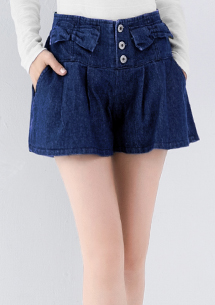 蝴蝶結排釦牛仔短褲