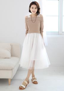 兩件式一字領網紗洋裝