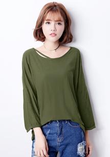 韓版個性竹節棉上衣