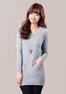 輕柔限定菱紋針織毛衣