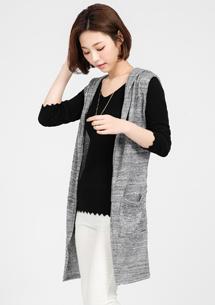 時尚針織外套-附綁帶