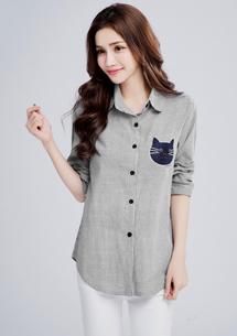 貓咪刺繡直條紋襯衫